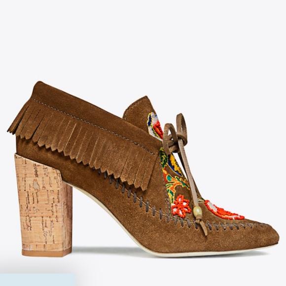 bdabc4f8986 Bnwt Tory Burch Huntington fringe booty shoe